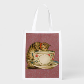 Cat and Teacup Vintage Victorian