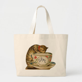 Cat and Teacup Vintage Victorian Bags