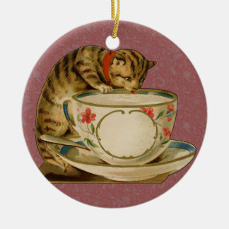 Cat and Teacup Vintage Victorian Christmas Ornament