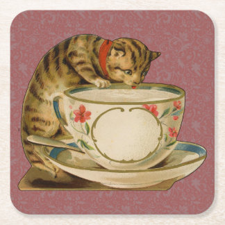 Cat and Teacup Vintage Victorian Square Paper Coaster