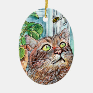 Cat and the Bee Christmas Ornament