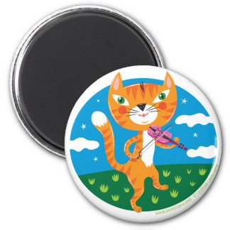 """Cat and the Fiddle"" 6 Cm Round Magnet"