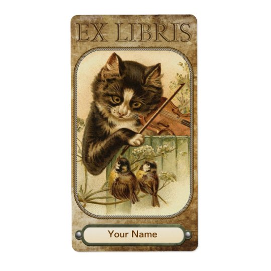 Cat and the Fiddle Book Plate Shipping Label