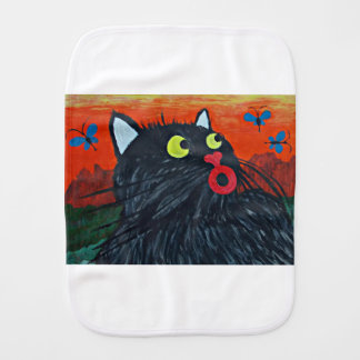 Cat and the flies burp cloth