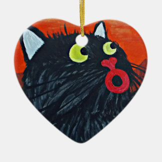 Cat and the flies ceramic heart decoration