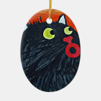 Cat and the flies ceramic oval decoration