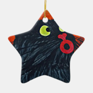 Cat and the flies ceramic star decoration