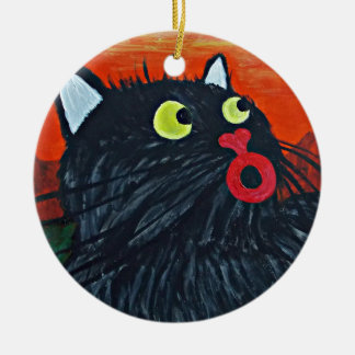 Cat and the flies round ceramic decoration