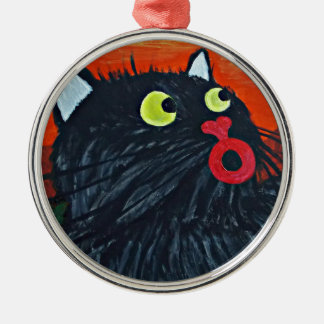 Cat and the flies Silver-Colored round decoration