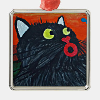 Cat and the flies Silver-Colored square decoration