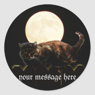 Cat and the Full Moon Round Sticker