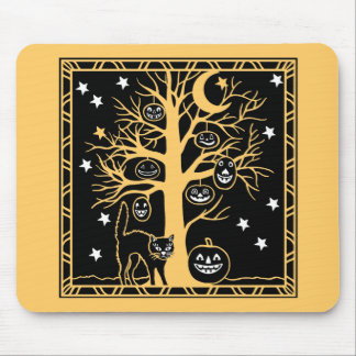 Cat and the Pumpkin Tree Mouse Pads