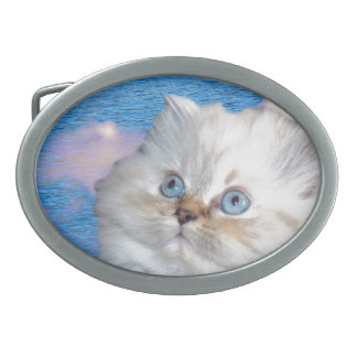 Cat and Water Oval Belt Buckle