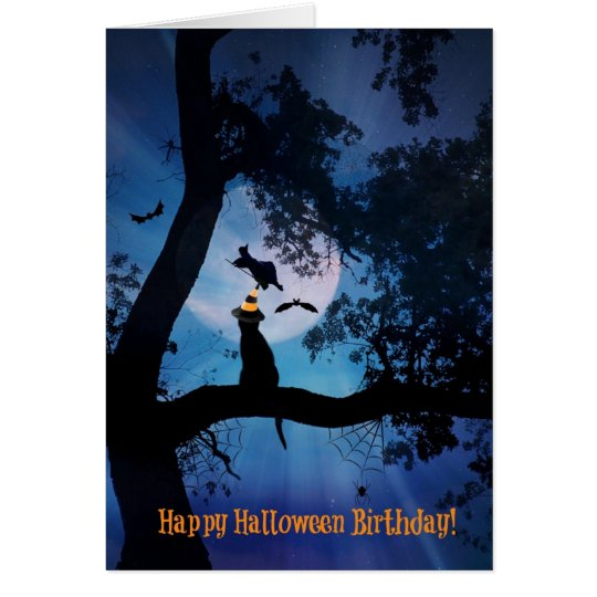 Cat and Witch Happy Halloween Birthday Card