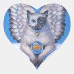 """Cat Angel """"Kitty Yin Yang"""" Heart Sticker"""