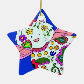 Cat Angel Ukrainian Folk Art Double-Sided Star Ceramic Christmas Ornament