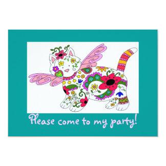 Cat Angel Ukrainian Folk Art 5x7 Paper Invitation Card