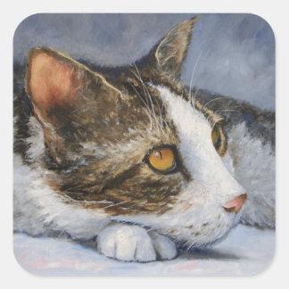 Cat Anticipation Fine Art Sticker