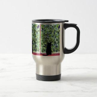 Cat Art Black Cat Bird Watching! Stainless Steel Travel Mug