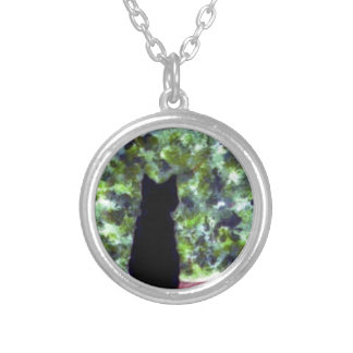 Cat Art Black Cat Bird Watching! Silver Plated Necklace