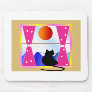 Cat Art Black cat in Window---Adorable Mouse Pad