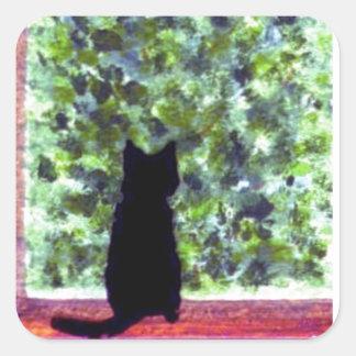 Cat Art Cute Black Cat at the window Painting Square Sticker