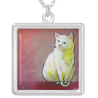 Cat art painting cute pretty colorful white kitty custom necklace