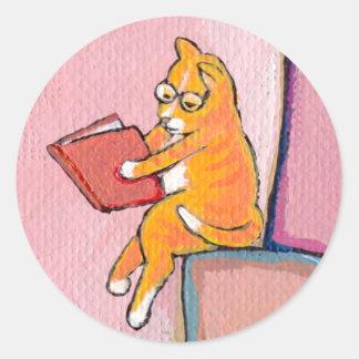 Cat art reading fun - Marmalade Prefers Solitude Classic Round Sticker
