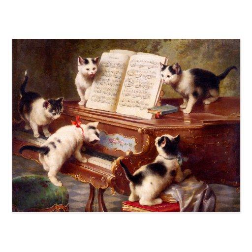 Cat Art: The Kitten's Recital Post Card