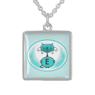 Cat artwork/illustration monogram necklace