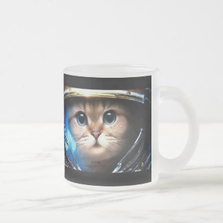 Cat astronaut frosted glass coffee mug
