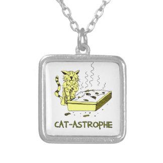 Cat-astrophe Square Pendant Necklace