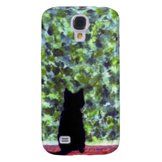 Cat at a window, Black Cat Painting Galaxy S4 Case