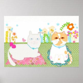 Cat at spring garden art Illustration. Poster