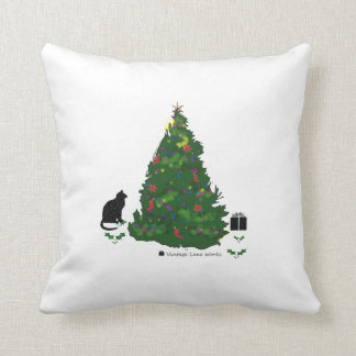 Cat At The Christmas Tree Cushion
