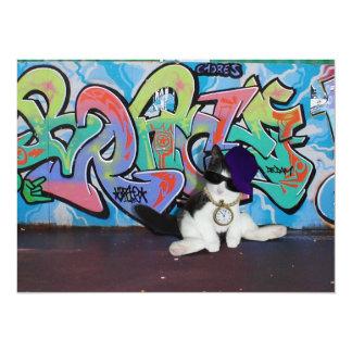 Cat Attitude.....Kitten and Graffiti Wall 14 Cm X 19 Cm Invitation Card