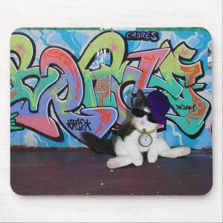 Cat Attitude Kitten and Graffiti Wall Mouse Pads