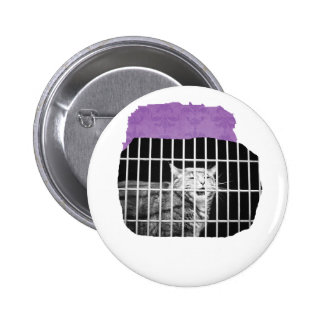 Cat behind bars with mouth open mean kitty 6 cm round badge