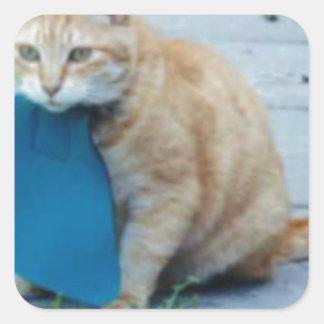 Cat Bib! Square Sticker
