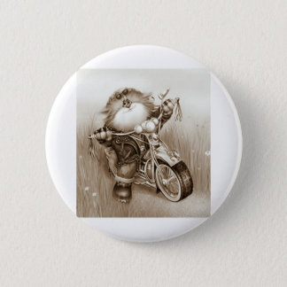 cat biker 6 cm round badge