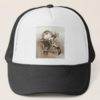 cat biker trucker hat