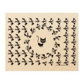 Cat & Bird Circle Wood Prints
