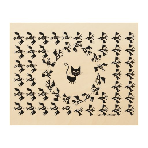Cat & Bird Circle Wood Canvases