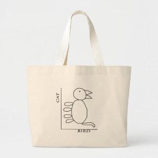 Cat Bird Large Tote Bag