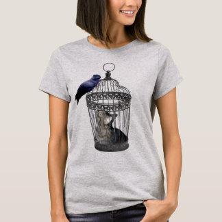 Cat_Bird_Role_Reversal,_Ladies_Grey_T-shirt. T-Shirt