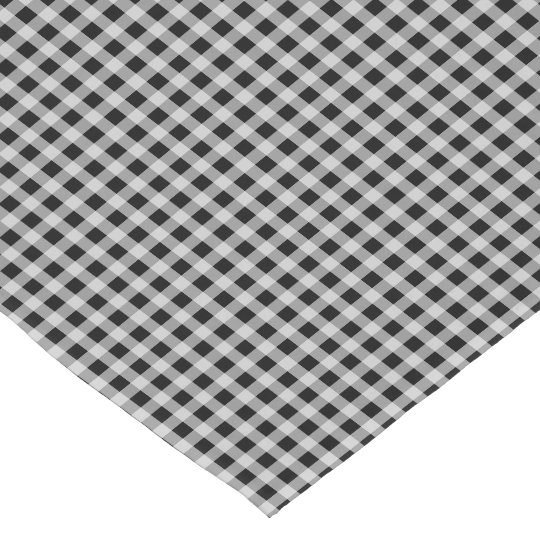 Cat Black and White Gingham Check Plaid Pattern Short Table Runner