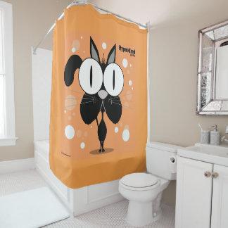 Cat (Black, Orange Bg) Shower Curtain