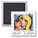 Cat & Blonde Lady Fridge Magnet