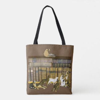 Cat Book Lovers Library Art Tote Bag