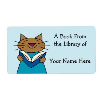 Cat Bookplate Shipping Label